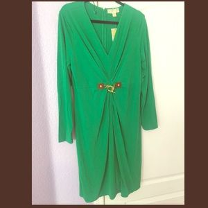 Michael Kors Green Long Sleeve Dress